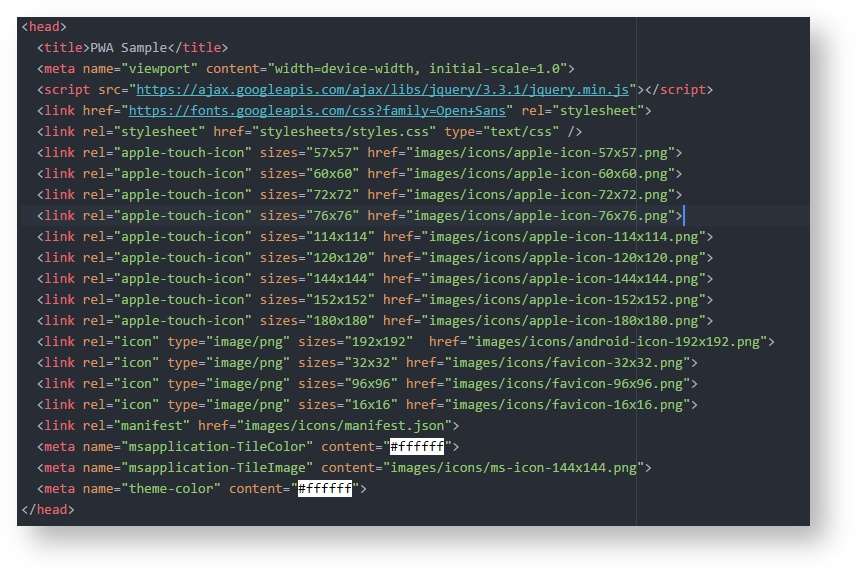 Generated code added to the site head