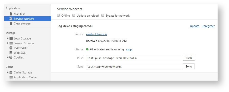 Service worker defined in Chrome Dev tools
